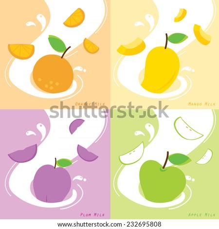 Milk Flavor Orange Plum Mango Apple Vector - stock vector