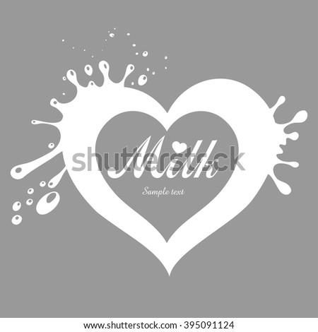 Milk heart. Vector illustration. - stock vector