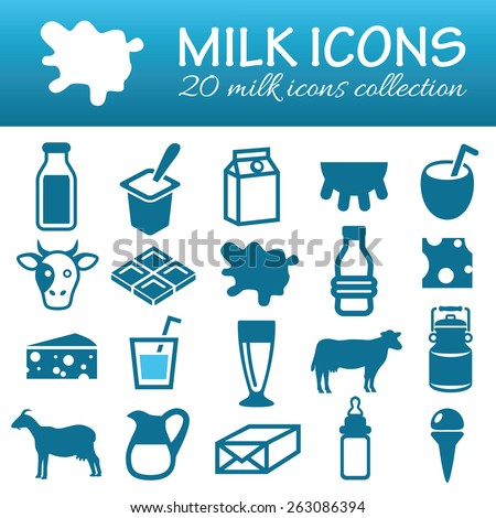 milk icons - stock vector