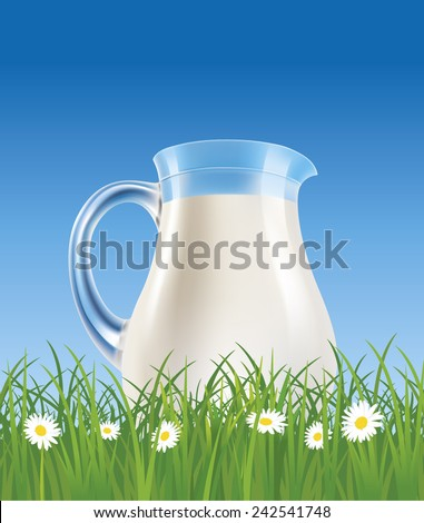 milk jug on grass field with chamomile - stock vector