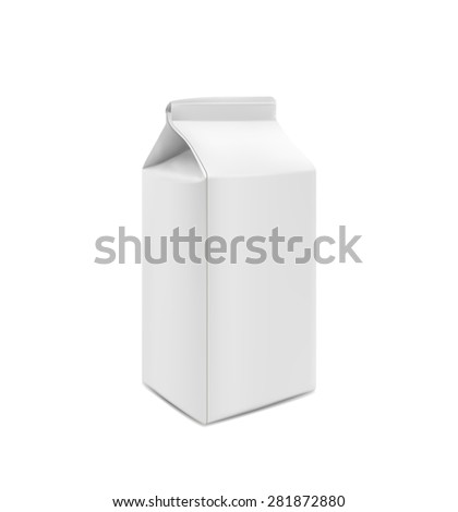 Milk, Juice, Beverages, Carton Package Blank on white - stock vector