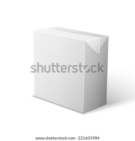 Milk, Juice, Beverages, Carton Package Blank White On White Background Isolated.