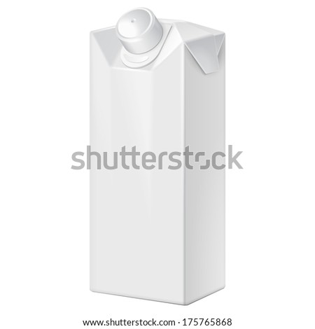 Milk, Juice, Beverages, Carton Package Blank White On White Background Isolated. Ready For Your Design. Product Packing Vector EPS10  - stock vector