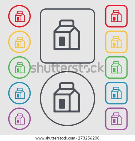 Milk, Juice, Beverages, Carton Package icon sign. symbol on the Round and square buttons with frame. Vector illustration - stock vector