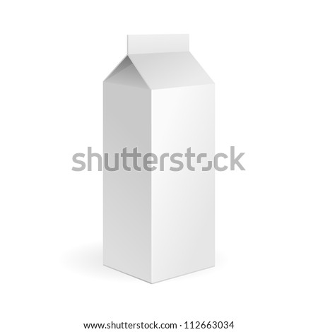 Milk, Juice Carton Package Blank White On White Background Isolated. Ready For Your Design. Product Packing Vector EPS10 - stock vector