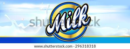 milk label design banner with milk splash and sky - vector - stock vector