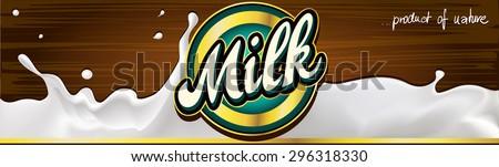 milk label design banner with wood - vector - stock vector