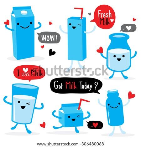 Milk Package Cartoon Character Cute Vector - stock vector