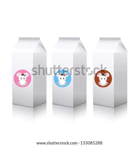 milk package on white background - stock vector