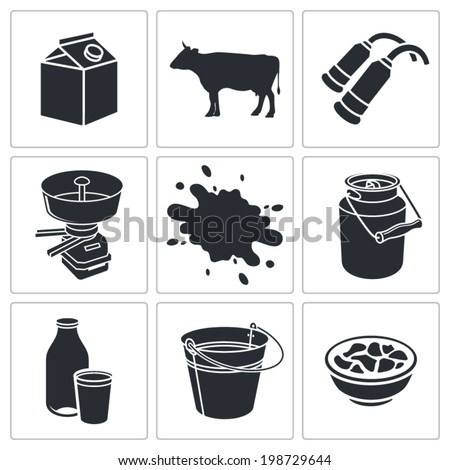 Milk production Icons set - stock vector