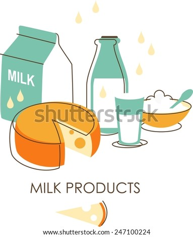 Milk products concept in retro sketch style - stock vector