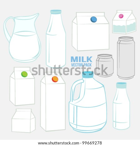 Milk set Vector Pack Collection - stock vector