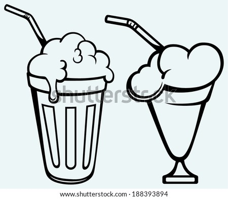 Milk shake. Isolated on blue background - stock vector
