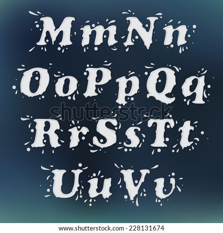 Milk Splash Font. Set Vol.2 M-u - stock vector