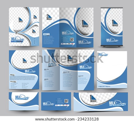 Milk Store Business Stationery Set Template  - stock vector