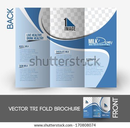 Milk Store  Tri-Fold Mock up & back Brochure Design.  - stock vector