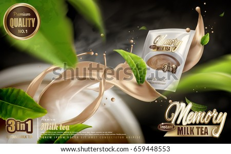 milk tea instant drink ad, smoke with rising milk tea flow effects and cup, with flying tea leaf elements, 3d illustration