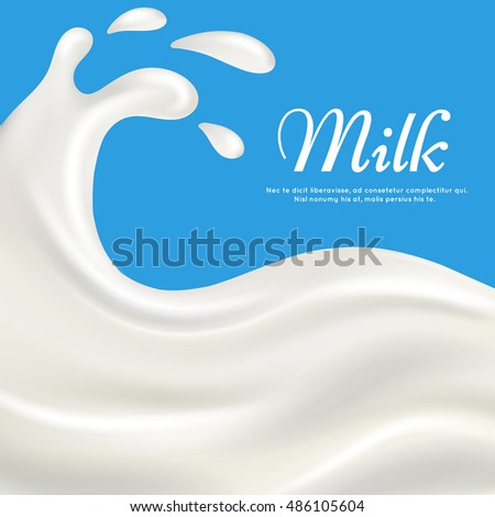 Milk with splashes realistic vector illustration. Pouring cream yogurt background