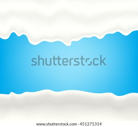 Milk, yogurt, cream or juice splashing. White smudges splashes drops on blue background. Vector illustration