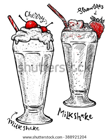 Milkshakes with strawberry and cherry, cream isolated.  Vector dessert of different hand drawn food. Milkshakes Isolated on white background. Sweet food poster for your designs. Milk cocktail. - stock vector