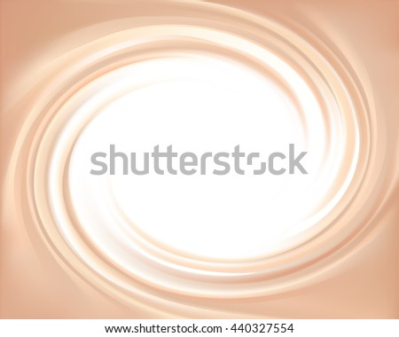 Milky ecru color curvy eddy backdrop with space for text in glowing white center. - stock vector