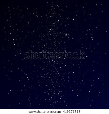 Milky way on night star sky. Stars dark background. Stock vector. - stock vector