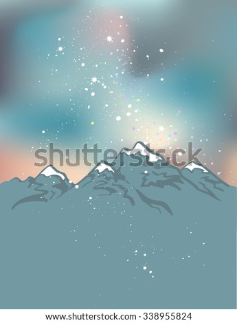 Milky Way over the Himalayan peaks. Mountains at the night time. Vector space background - stock vector