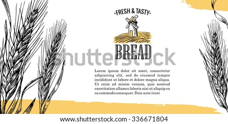 Mill, Wheat field, Ears. Black, white, yellow color. Vintage vector engraving illustration for logotype, label, poster, corporate identity, badges, brochures, presentations, flayer for bakery shop. - stock vector