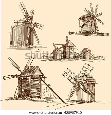 Mill. Windmill. Hand drawn illustration. Sketch - stock vector