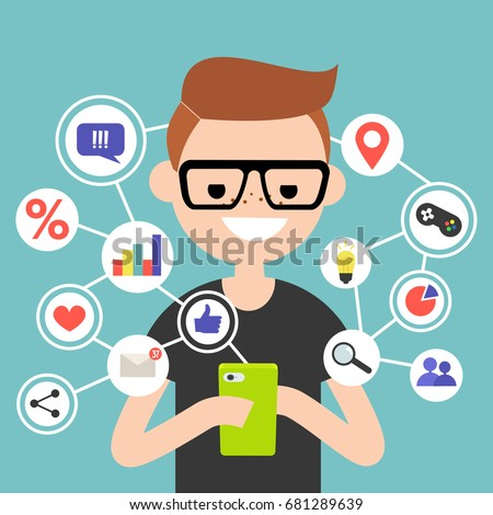 millennial consuming online content on mobile stock vector