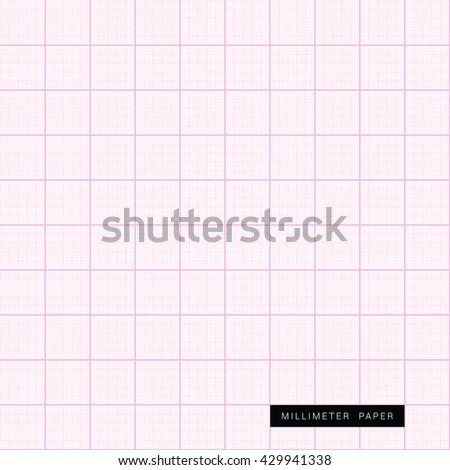 millimeter paper pink measure illustration - stock vector