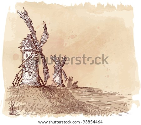 Mills on the hill - a vector drawing - stock vector