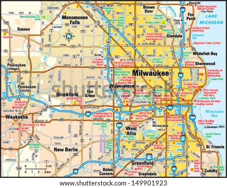 Milwaukee Wisconsin Area Map Stock Vector 149901923 Shutterstock