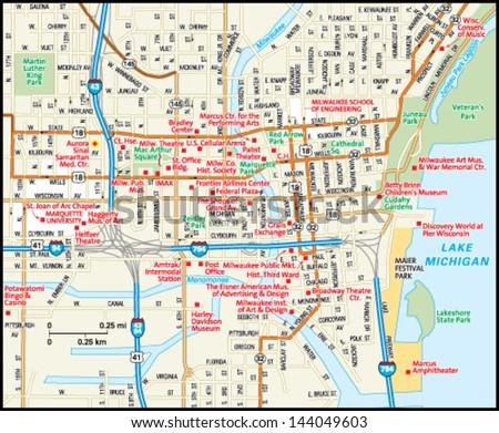 Milwaukee Wisconsin Downtown Map Stock Photo Photo Vector