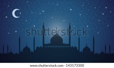 Minarets and domes at night - stock vector