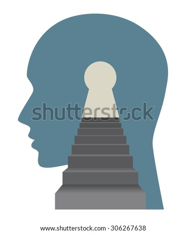 Mind and soul concept with face and stairs. Vector illustration. - stock vector
