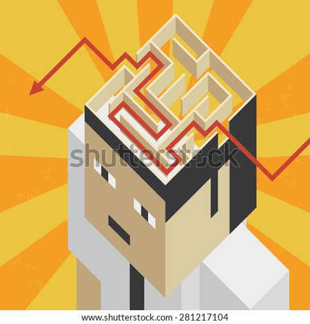 Mind labyrinth Illustration of the concept of a head with an labyrinth in the brain, in isometric old video game style. The grunge texture is removable from the background. - stock vector