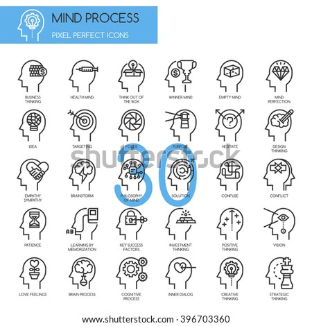 Mind Process , thin line icons set , Pixel Perfect Icons - stock vector