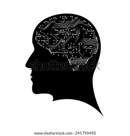 Mind profile. Microchip brain. EPS10 vector - stock vector