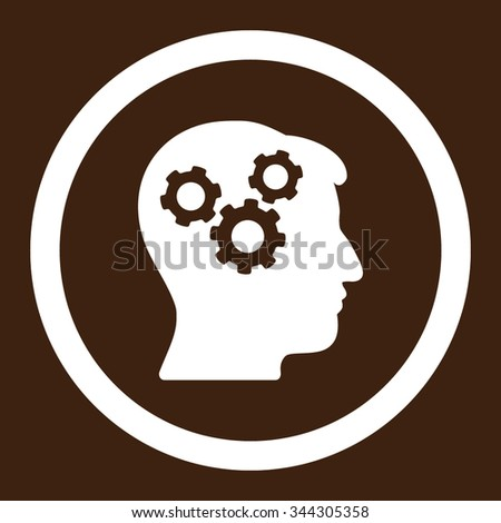 Mind vector icon. Style is flat rounded symbol, white color, rounded angles, brown background. - stock vector
