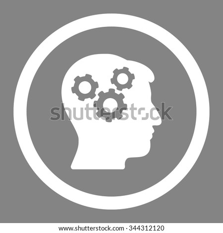 Mind vector icon. Style is flat rounded symbol, white color, rounded angles, gray background. - stock vector