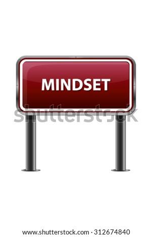 Mindset Red Metallic Motivational Banner on White Background - stock vector
