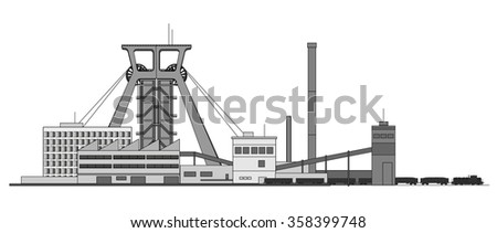 Mine factory with coal train - stock vector