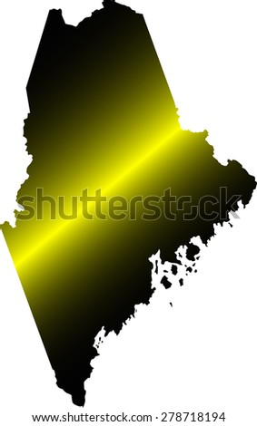 Mine map outlines in illuminated black and white background, vector map of State of Maine in USA - stock vector