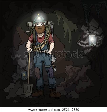 Miner character, in the dark mine, vector illustration - stock vector