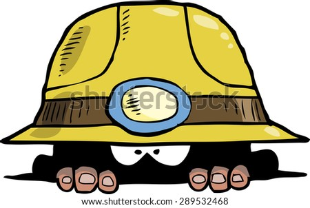 Miner peeps out of the hole vector illustration - stock vector