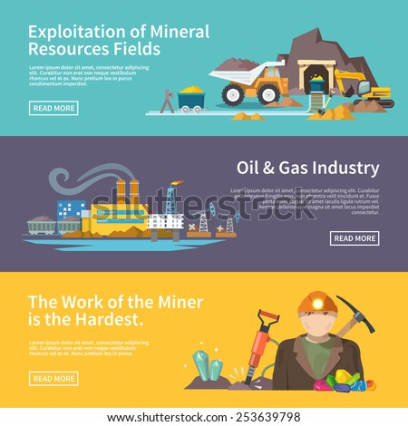 Miner work flat horizontal banner set with exploitation of mineral resources fields oil and gas industry elements isolated vector illustration - stock vector