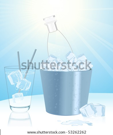 Mineral water in ice bucket, vector illustration - stock vector