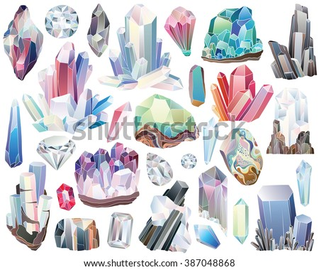 Minerals, Crystals, Gems, and Diamonds Isolated Vector Set - stock vector