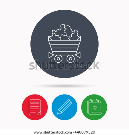 Minerals icon. Wheelbarrow with jewel gemstones sign. Calendar, pencil or edit and document file signs. Vector - stock vector